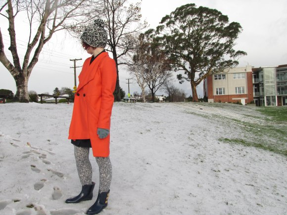 Morse coat by Company of Strangers. Worn with leggings by NOM*d, hat by Karen Walker and gumboots by Vivienne Westwood for Melissa.
