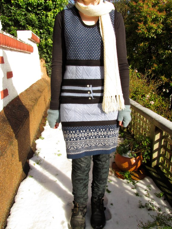 Recycled jumper dress by NOM*d. Worn with skinnies by NOM*d, Dr Martens and vintage scarf.