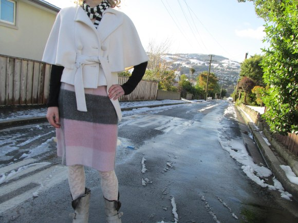 Vintage cashmere cape and skirt by Charmaine Reveley. Worn with boots from Maher and vintage scarf.