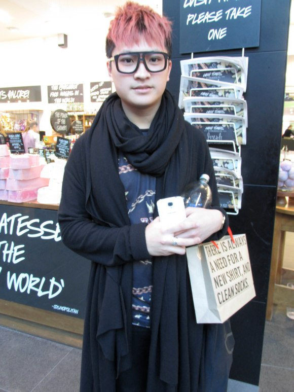 Otago Polytechnic fashion student Daniel wears jacket-cardi and scarf by his own label KWOK's Revolution.