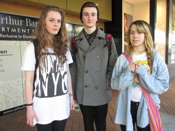 Grace, Henry and Jess. Grace wears Factorie. Henry wears jacket and shirt by Hallensteins. Jess wears Rugrats tee by Hot Topic.