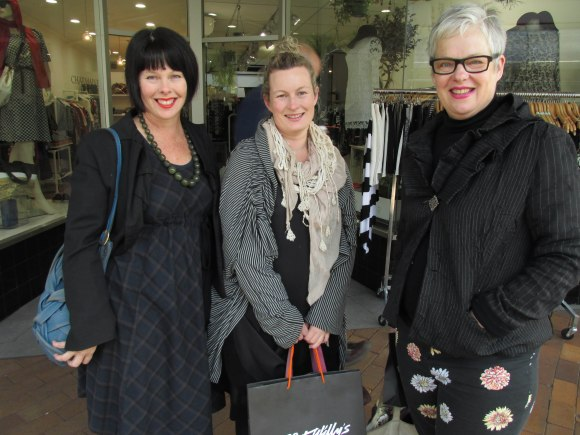 Cathy, Abby and Bridget. Cathy wears dress by Iris. Abby wears clothing made by herself. Bridget wears jacket by Tauranga label Women and pants by Glassons.