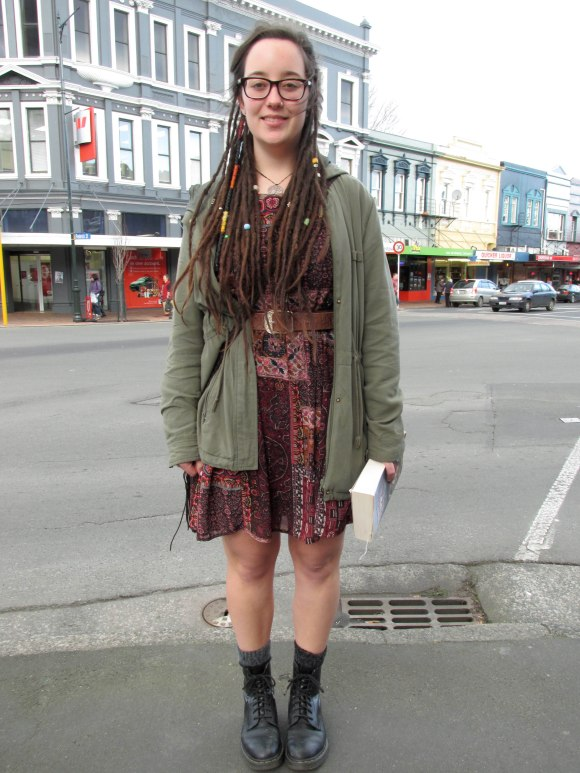 Lydia wears dress by Pagani and Dr Martens.