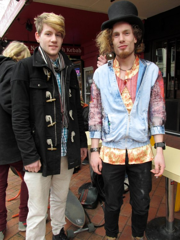 Liam and Bones. Liam wears scarf and pants from Toffs and shirt by Hallensteins. Bones wears op-shop.