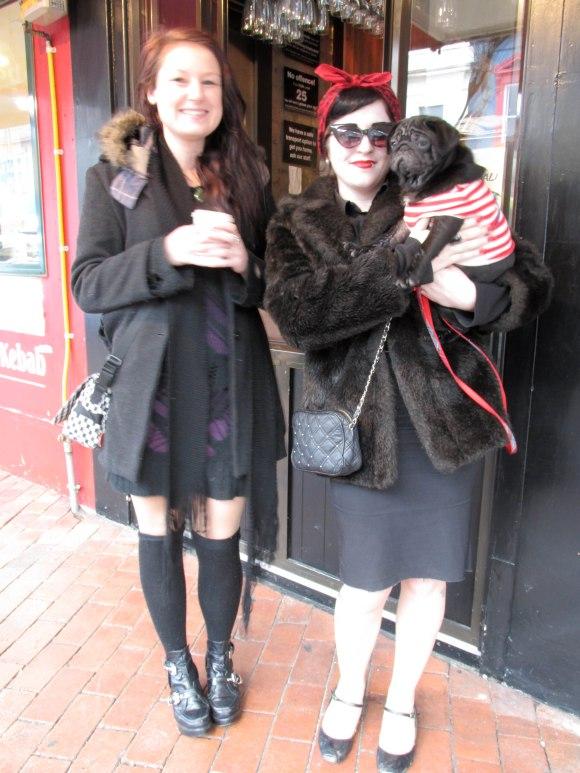 Dani, Julianna and Iggy Pop. Dani wears dress from Farmers and op-shop. Julianna wears vintage fur.