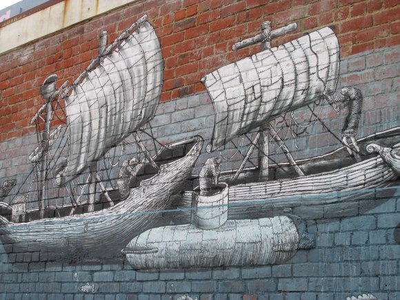 Detail of Phlegm's Vogel Street mural