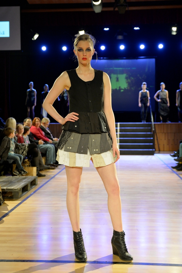 Melanie Child at NZ Eco Fashion Week Exposed 2014. Model: Rachel Milns. Photo: Masanori Udagawa (photowellington.com).