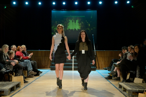 Melanie Child at NZ Eco Fashion Week Exposed 2014. Model: Allie O'Regan with designer Melanie Child (right). Photo: Masanori Udagawa (photowellington.com).