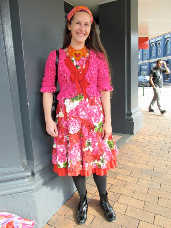 Cherie wears dress by Classic Clothing worn with necklace and headband made by herself.