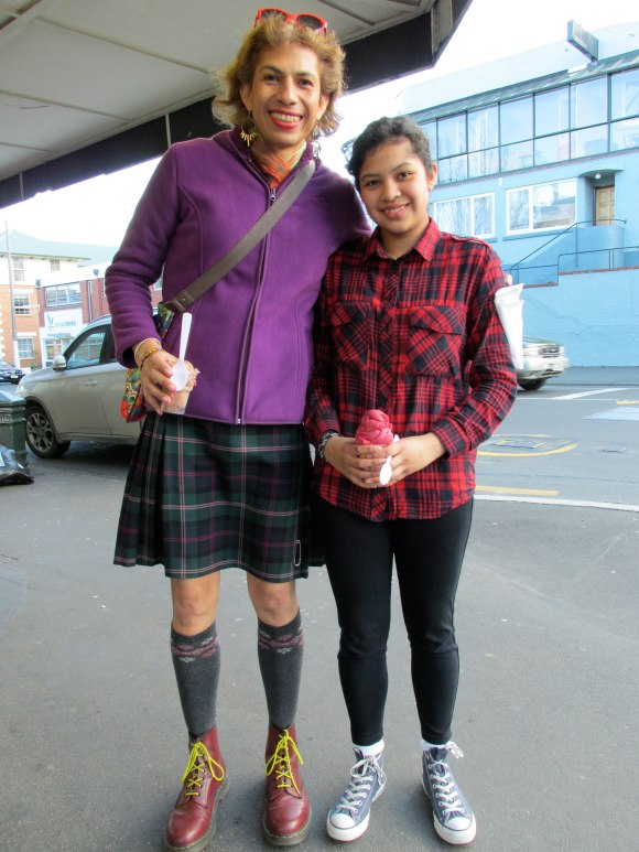 Josie and Brenda (from Mexico). Josie wears Docs and kilt from The Scottish Shop. Brenda wears Converse.