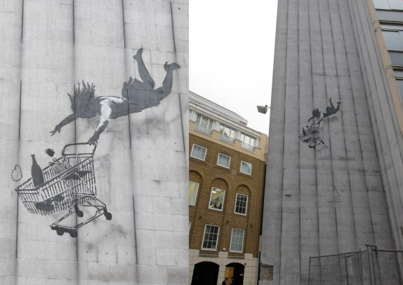 Street art by Banksy on Bruton Lane
