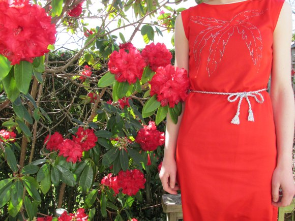 Red dress with palm tree print from Two Squirrels Vintage