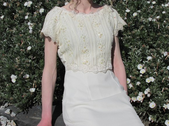 Cream beaded dress from Presbyterian Support Op-Shop