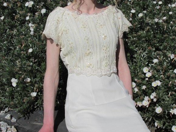Cream beaded dress from Presbyterian Support Op-Shop