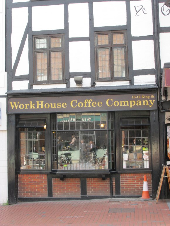 WorkHouse Coffee Company, Reading. Yay, they serve flat whites, thanks to the Australian owner.