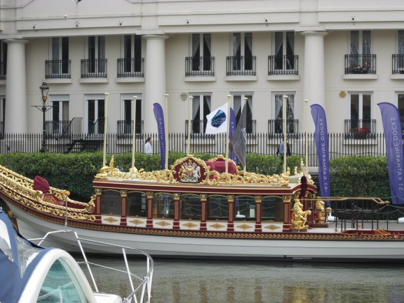 Gloriana, the Queen's rowbarge, used in the 2012 Diamond Jubilee celebrations – St Katharine Docks, London