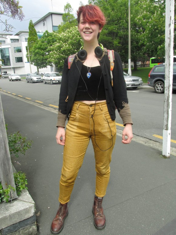 Rosa wears TradeMe (jacket and trousers), op-shop and a necklace from Chile.