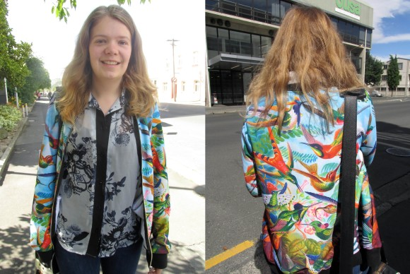 Steph wears jacket by Black Milk and shirt bought online.