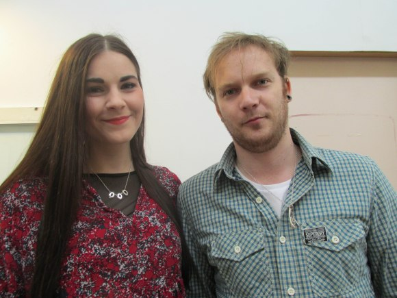 Rebecca and Dan. Rebecca wears her Trinity necklace. Dan wears Rebecca's Wishagram pendant.