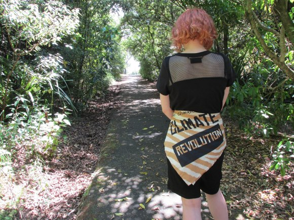 'Climate Revolution' organic cotton 'knot wrap' by Vivienne Westwood for Lush (bought online at Lush NZ). Worn with tee and shorts by NOM*d.