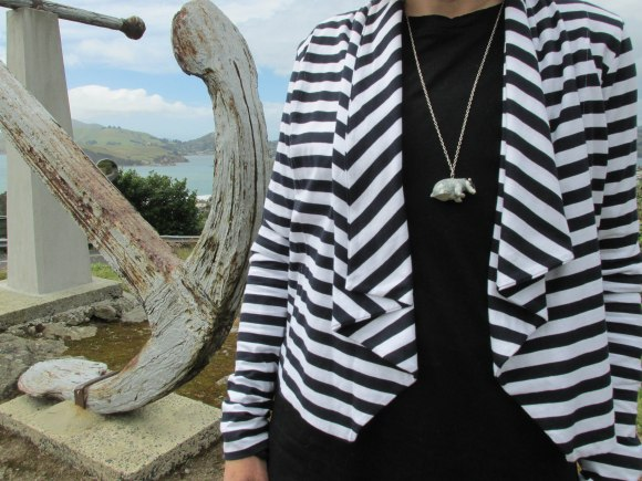Organic cotton blazer by Kowtow from Slick Willy's (George Street). Worn with badger necklace from a selection at Charmaine Reveley & Co. (George Street).