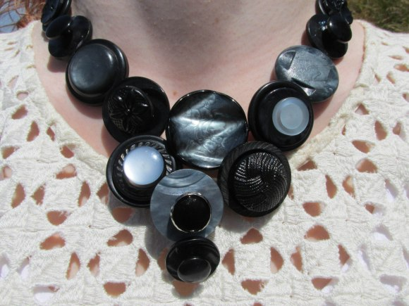 Recycled button necklace from a selection at Box of Birds (Port Chalmers)