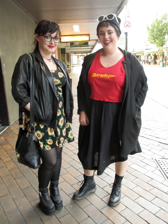 Tay and Veeta. Tay wears jacket from Toffs, dress from The Warehouse and shoes from SaveMart. Veeta wears jacket by Storm, pants from Wild Pair and op-shop.