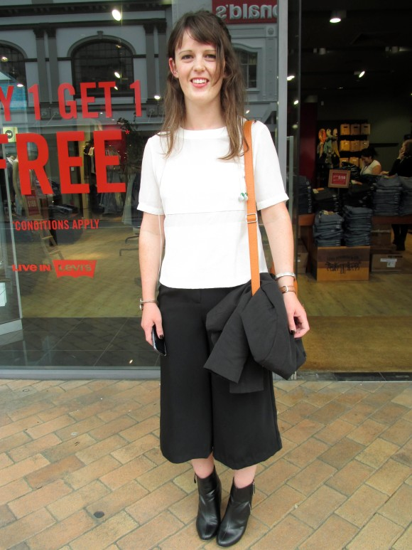Jenna wears top and shoes from Farmers, pants from Forever New and bag from Acquisitions.