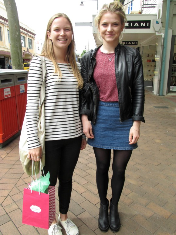 Emily and Jeanne. Emily wears top and pants by Country Road and Vans shoes. Jeanne wears top by Zara, jacket from France, skirt from Dotti and shoes from Hannahs.