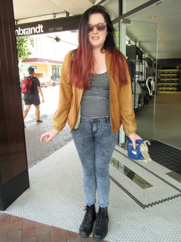 Mairead wears Dr Martens and borrowed.