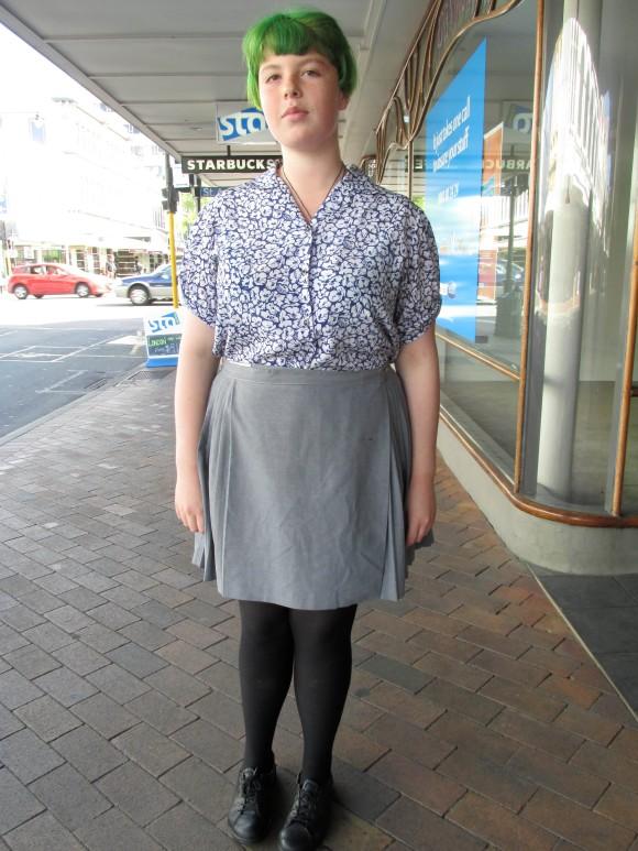 Mikayla wears op-shop.