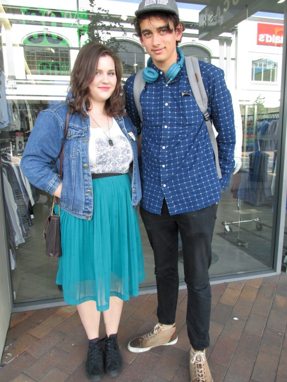 Sarah and Oska. Sarah wears gifted jacket, tee from Dotti and op-shop skirt. Oska wears shirt from Farmers, Levis and shoes by Pantofola d'Oro.