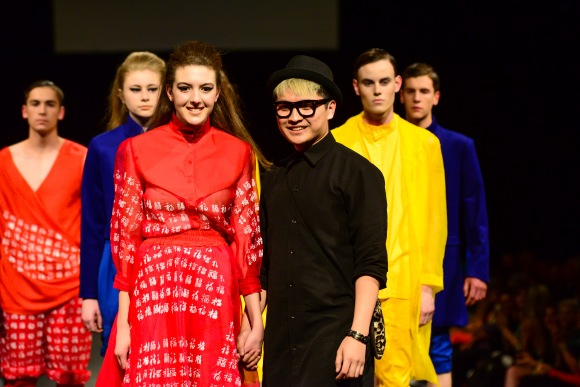 Daniel Kwok at Collections 14 Fashion Show, 2014. Photo by Chris Sullivan/Seen in Dunedin. Models: Ali McD Agency.