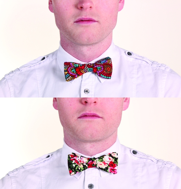 Bow ties from SS14/15 'Colour Bomb' collection. Photo by Daniel Kwok. Model: Tobi Scott.