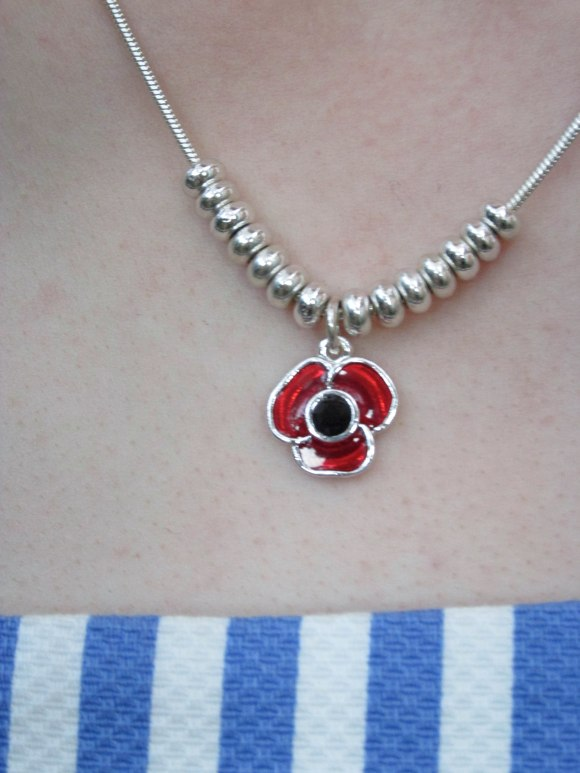 Commemorative poppy necklace from the Birmingham Jewellery Quarter, England