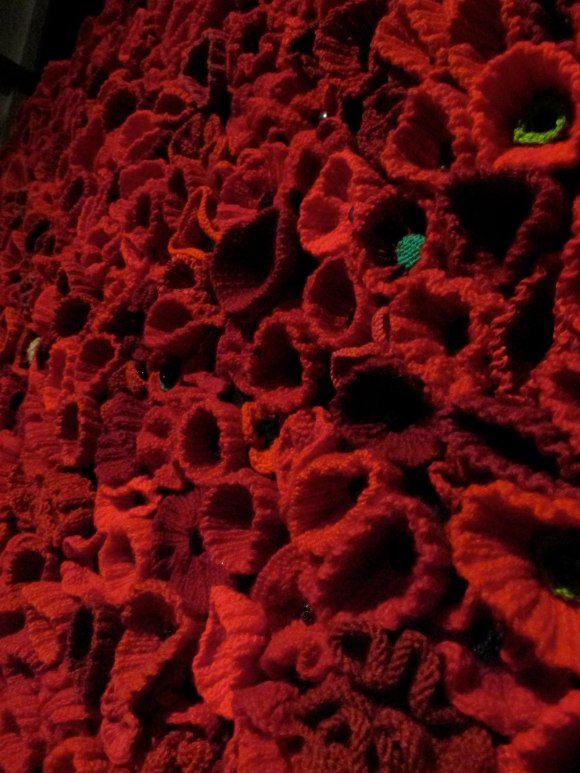 Wall of knitted poppies at Toitu